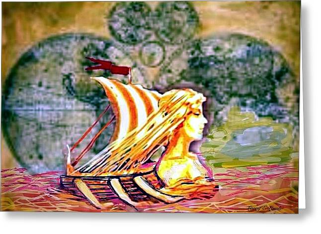 Wooden Ship Greeting Cards - Voyage to Valhalla. Greeting Card by Larry Lamb