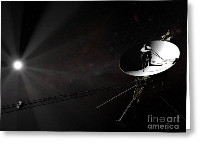 Interstellar Space Greeting Cards - Voyager 1 Leaving The Solar System Greeting Card by Rhys Taylor