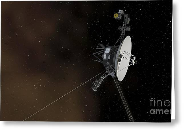 Interstellar Space Digital Art Greeting Cards - Voyager 1 Spacecraft Entering Greeting Card by Stocktrek Images