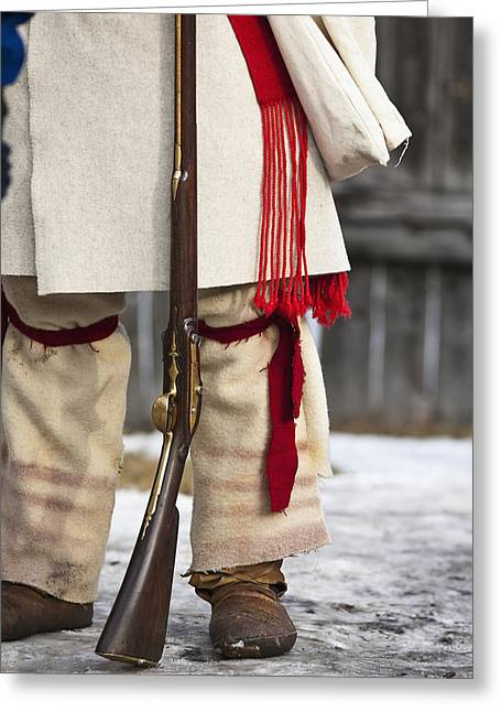 Special Occasion Greeting Cards - Voyageur Soldier In Period Costume Greeting Card by Ken Gillespie
