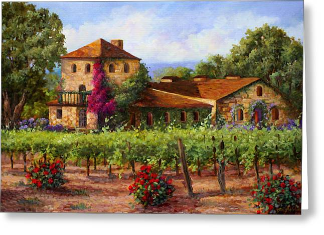 Winery Greeting Cards - V.Sattui  Winery Revisited  Greeting Card by Gail Salituri