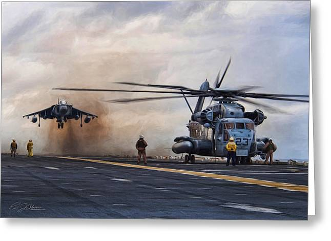 Usmc Base Greeting Cards - VTOL Parking Only Greeting Card by Peter Chilelli