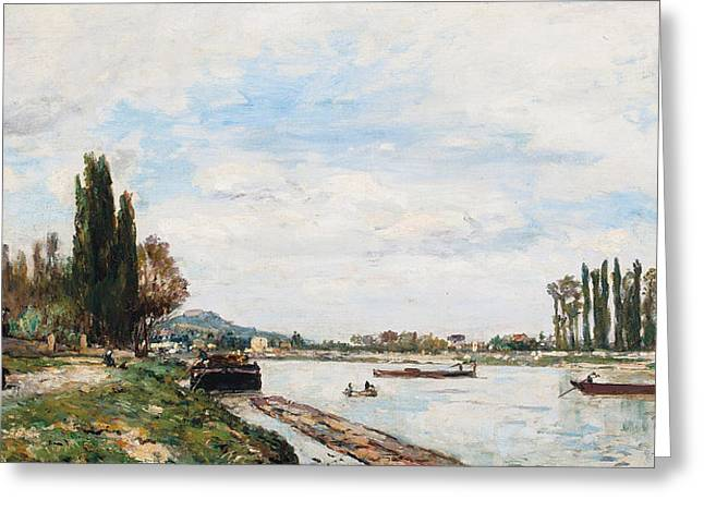 Besides Greeting Cards - Vue de Meudon du Pont de Sevres Greeting Card by Johan-Barthold Jongkind