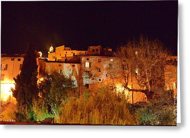 Provence Village Greeting Cards - Vue De Seillans La Nuit Greeting Card by Atelier De  Jiel