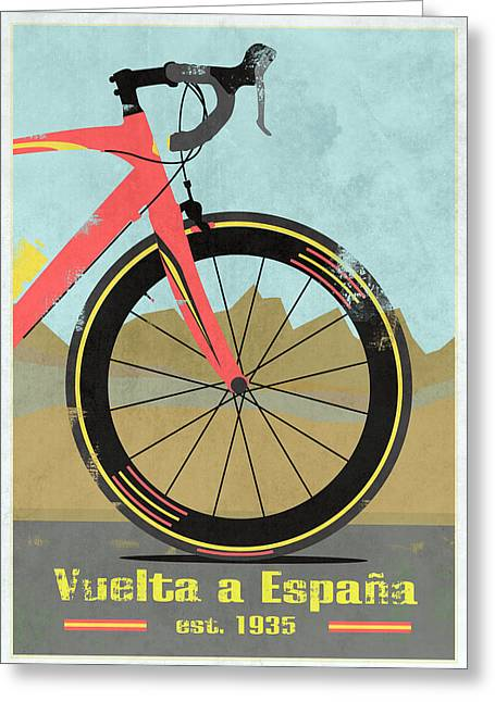 Wiggins Greeting Cards - Vuelta a Espana Bike Greeting Card by Andy Scullion