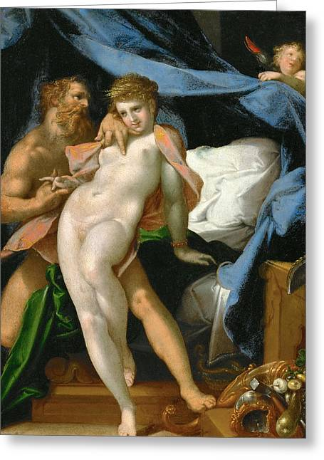 Maia Greeting Cards - Vulcan and Maia Greeting Card by Bartholomeus Spranger