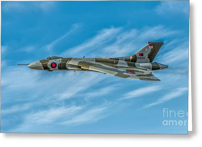 Union Jack Greeting Cards - Vulcan Bomber Greeting Card by Adrian Evans