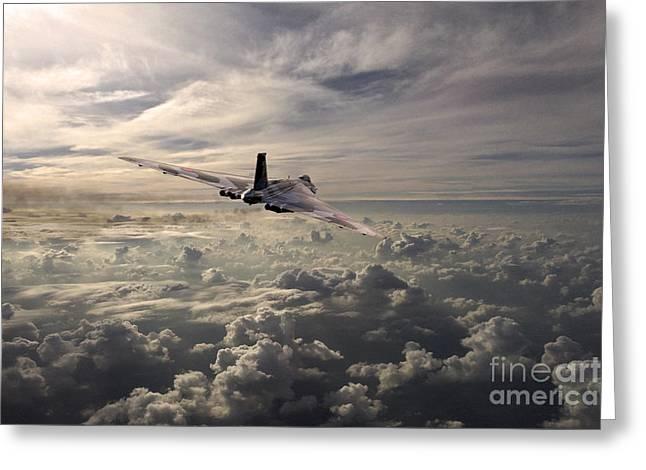 Military Airplanes Greeting Cards - Vulcan Farewell  Greeting Card by J Biggadike