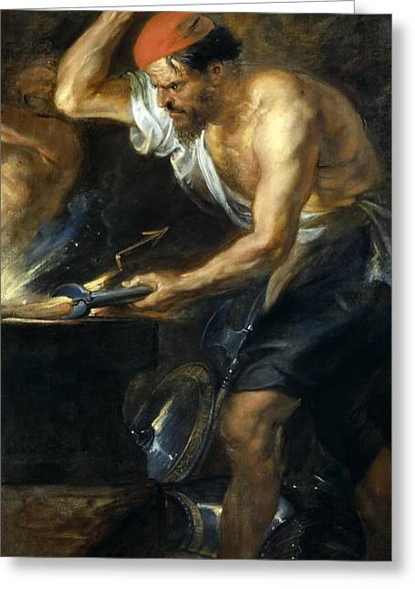 Thunder Paintings Greeting Cards - Vulcan forges Jupiters thunder Greeting Card by Peter Paul Rubens