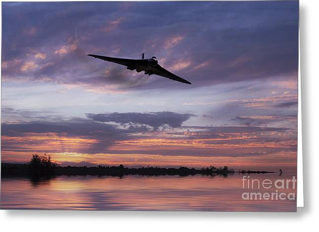 Military Airplanes Greeting Cards - Vulcan Over The Water  Greeting Card by J Biggadike