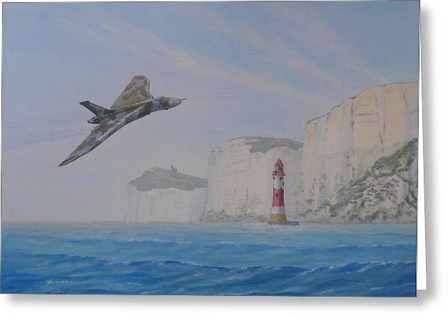 Cliffs Over Ocean Greeting Cards - Vulcan XH558 Passing Beachy Head Greeting Card by Elaine Jones