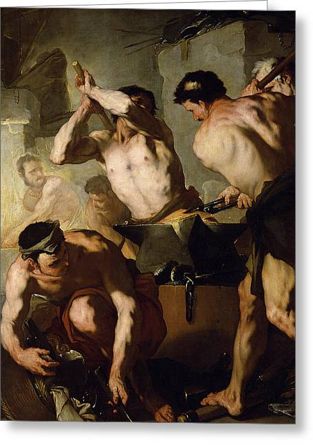 Naked Men Greeting Cards - Vulcans Forge Greeting Card by Luca Giordano