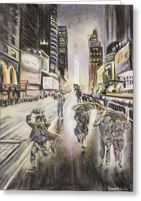 Times Square Pastels Greeting Cards - Vulnerable  Greeting Card by Rachel Wood
