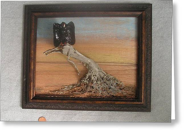 Old Wall Sculptures Greeting Cards - Vulture on Stump Greeting Card by Roger Swezey