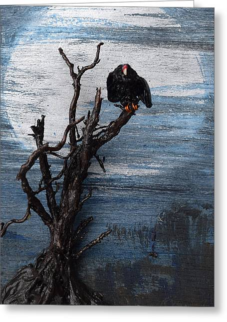 Dusk Sculptures Greeting Cards - Vulture with Blue Moon Greeting Card by Roger Swezey