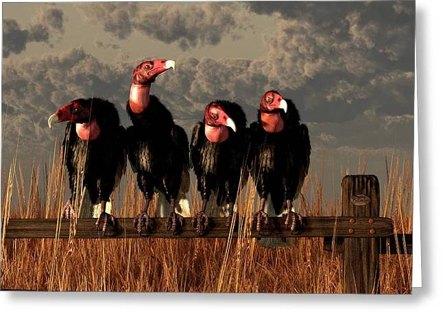 Vultures On A Fence Greeting Card by Daniel Eskridge