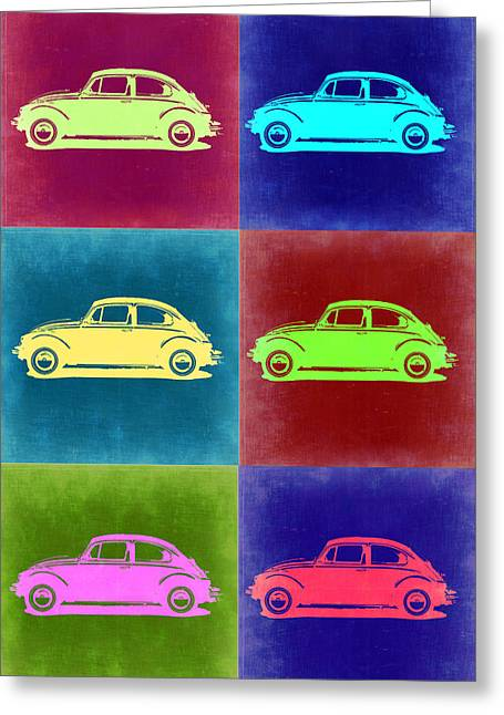 Bug Greeting Cards - VW Beetle Pop Art 2 Greeting Card by Naxart Studio