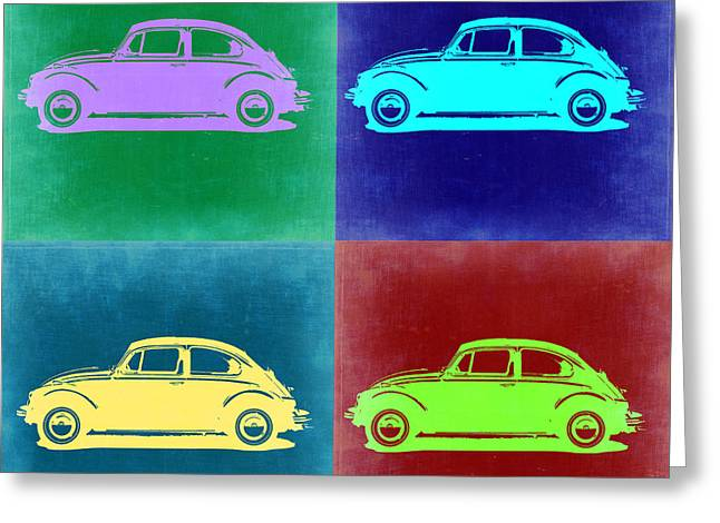 Bug Greeting Cards - VW Beetle Pop Art 3 Greeting Card by Naxart Studio
