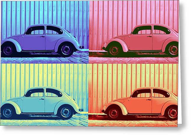 Metal Sheet Greeting Cards - VW Beetle Pop Art Quad Greeting Card by Laura  Fasulo
