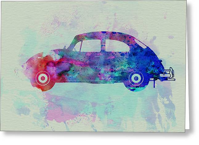 Classic Drawings Greeting Cards - VW Beetle Watercolor 1 Greeting Card by Naxart Studio