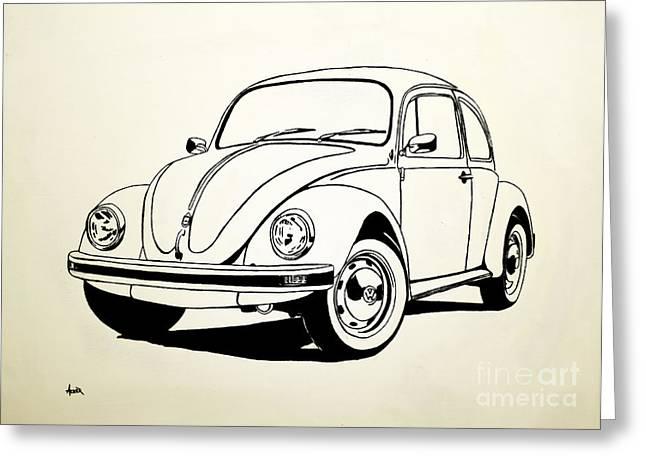 Vw Beetle Paintings Greeting Cards - VW Bug Greeting Card by Aaron Acker