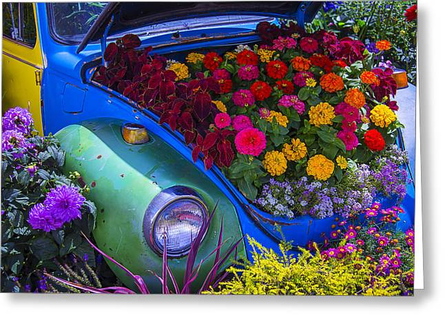 Signed Photographs Greeting Cards - VW Bug Garden Greeting Card by Garry Gay