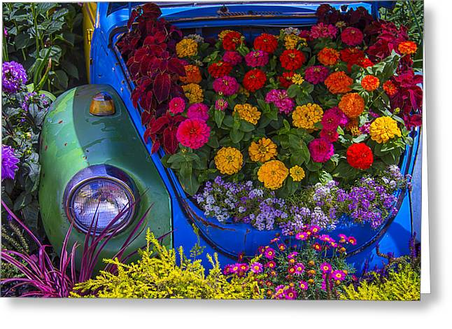 Vw Bug Greeting Cards - VW Bug In The Flower Bed Greeting Card by Garry Gay