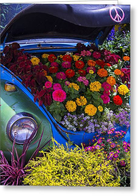 Headlight Greeting Cards - VW Bug With Flowers Greeting Card by Garry Gay