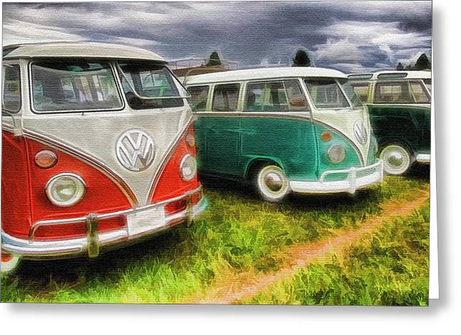 Rat Fink Greeting Cards - VW Bus Assortment Greeting Card by Steve McKinzie