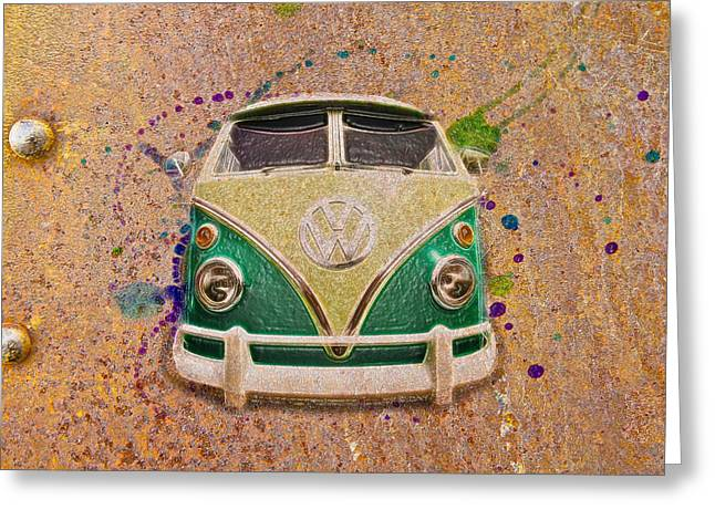Rat Fink Greeting Cards - VW Bus on Metal Greeting Card by Steve McKinzie