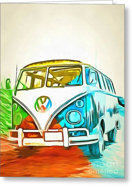 Surfing Art Greeting Cards - VW Bus Pop Art 5 Greeting Card by Edward Fielding