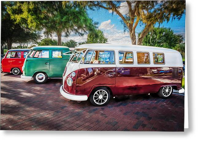 Recently Sold -  - 1960 Greeting Cards - VW Bus Stop 1964 1961 1968 Vans Trucks Painted Greeting Card by Rich Franco