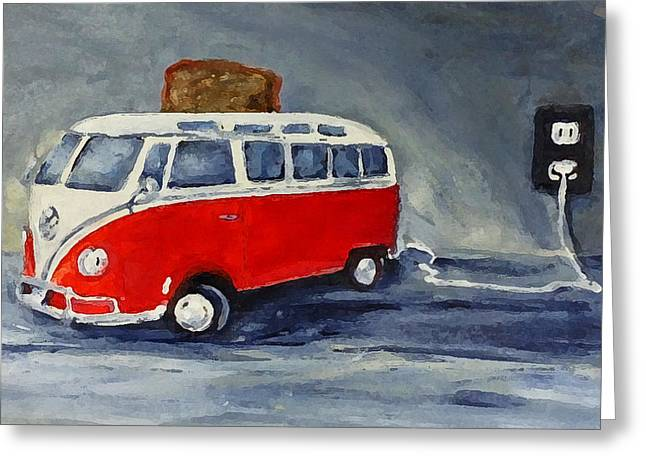 Toaster Paintings Greeting Cards - VW Bus Toaster Greeting Card by Sunny Avocado