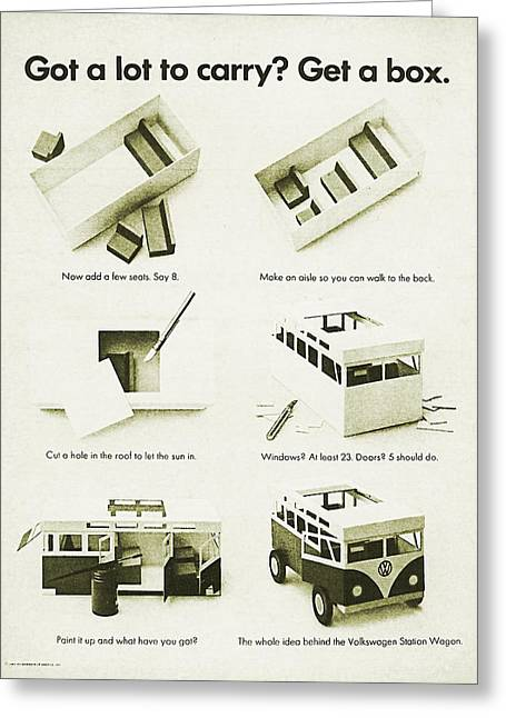 Station Wagon Greeting Cards - VW Bus Vintage Advert Greeting Card by Nomad Art And  Design
