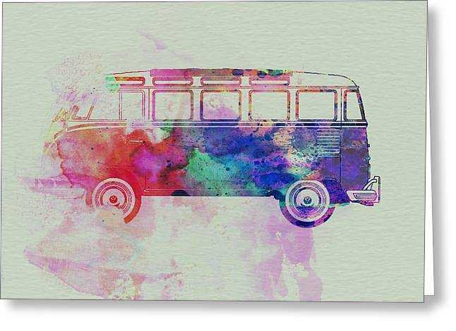 Hippy Greeting Cards - VW Bus Watercolor Greeting Card by Naxart Studio