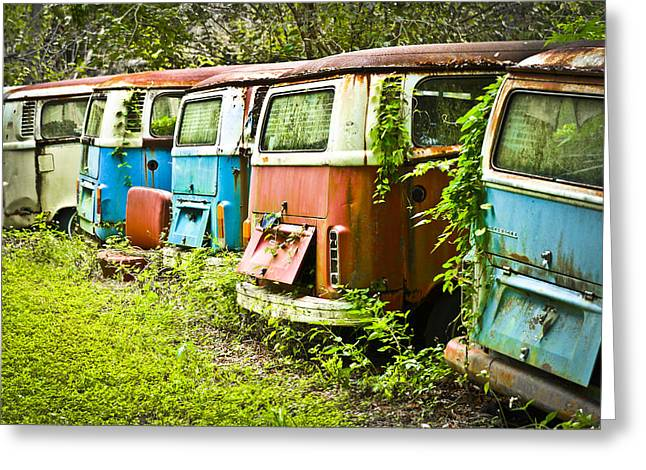 Living Life Photography Greeting Cards - VW Buses Greeting Card by Carolyn Marshall