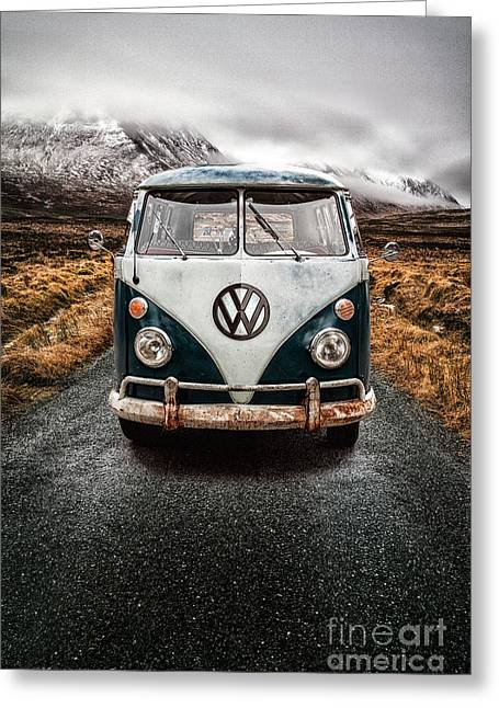 Cold Photographs Greeting Cards - VW Camper Glen Etive Greeting Card by John Farnan