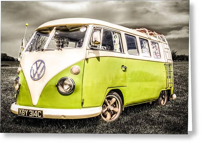 Campervan Greeting Cards - VW Campervan Greeting Card by Ian Hufton