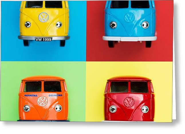 Campervan Greeting Cards - VW Campervans Greeting Card by Tim Gainey