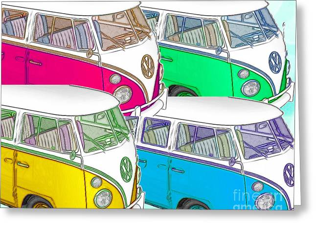 Vw Beetle Greeting Cards - VW Collage Greeting Card by Cheryl Young