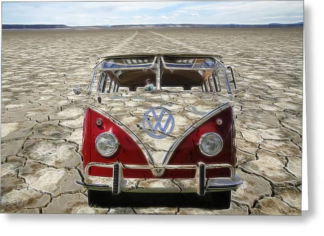Vw Squareback Greeting Cards - VW Dry Lakes Greeting Card by Steve McKinzie