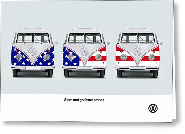 Vw Van Greeting Cards - VW Go Faster Stripes Greeting Card by Mark Rogan