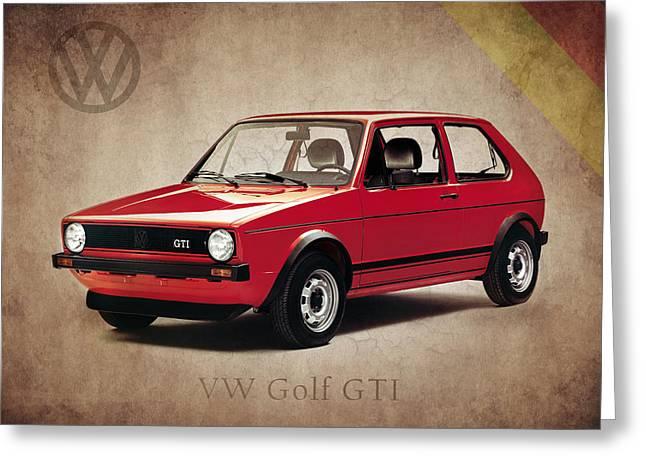 Volkswagen Greeting Cards - VW Golf GTI 1976 Greeting Card by Mark Rogan