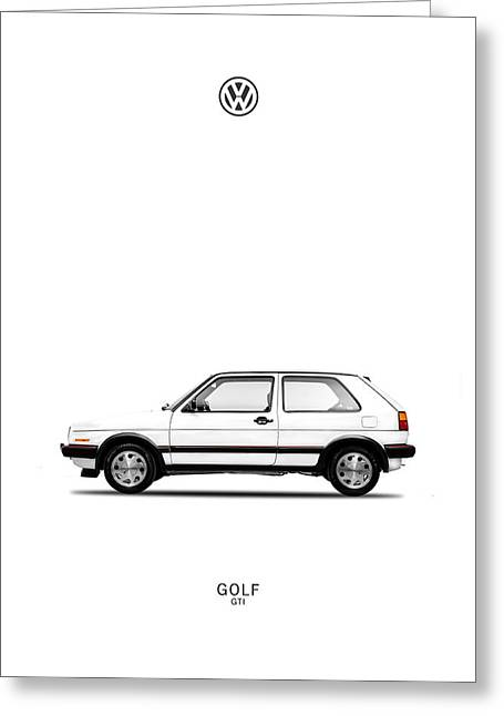 Volkswagen Beetle Greeting Cards - VW Golf GTI Greeting Card by Mark Rogan