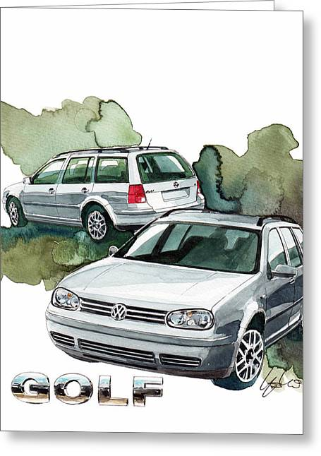 Station Wagon Greeting Cards - VW Golf Greeting Card by Yoshiharu Miyakawa