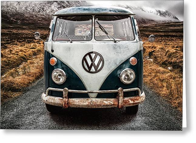 Cold Photographs Greeting Cards - VW in Glen Etive Greeting Card by John Farnan