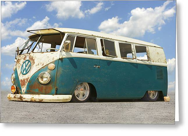 1960s Greeting Cards - VW Lowrider Bus Greeting Card by Mike McGlothlen