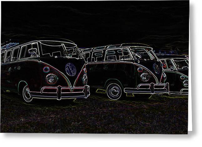 Vw Microbus Glow Greeting Card by Steve McKinzie