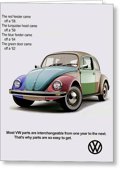Volkswagen Beetle Greeting Cards - VW Parts Greeting Card by Mark Rogan