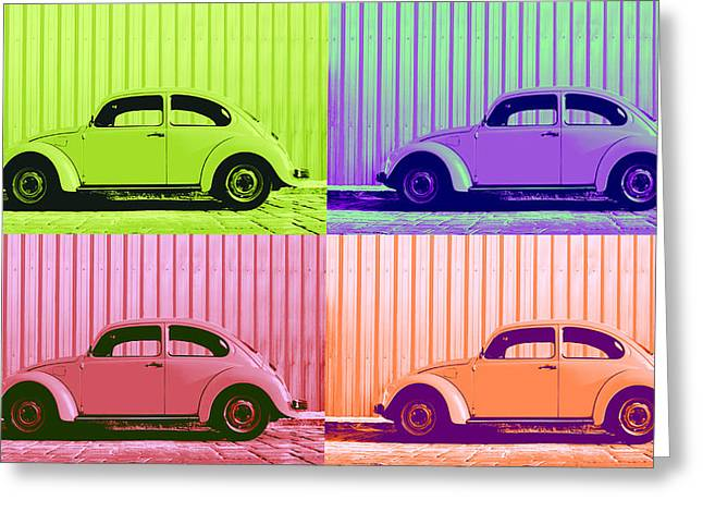 Metallic Sheets Digital Greeting Cards - VW Pop Spring Greeting Card by Laura  Fasulo
